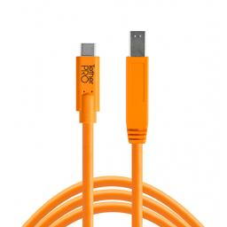TetherPro USB-C to 3.0 Male B, 4.6M Cable Black or Orange
