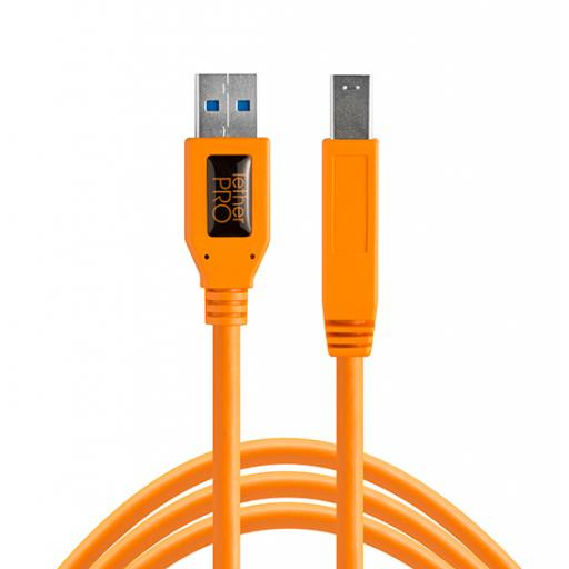 TetherPro USB 3.0 to USB Male B 4.6m Cable Black or Orange