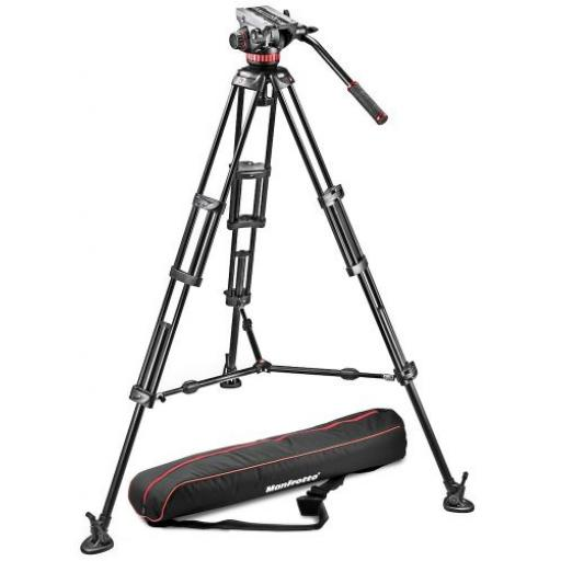 Tripod with fluid video head, Aluminium with Sliding Plate