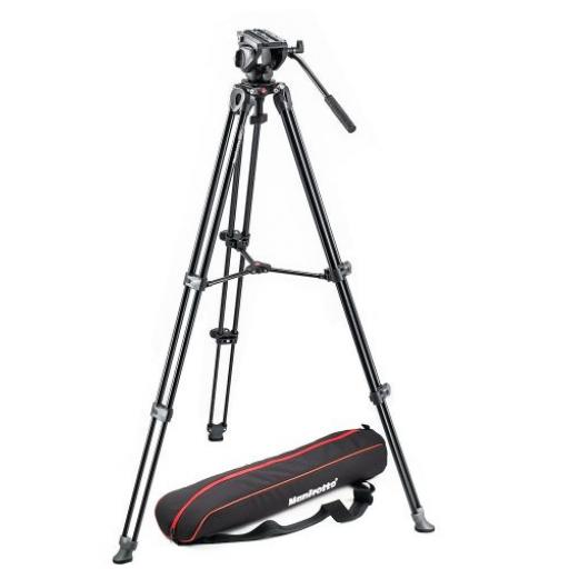 Tripod with fluid video head Lightweight with Side Lock