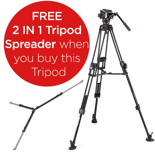 Manfrotto Fluid Video Head with 645 Fast Twin Alu Tripod (With a FREE 2 in 1 Tripod Spreader)