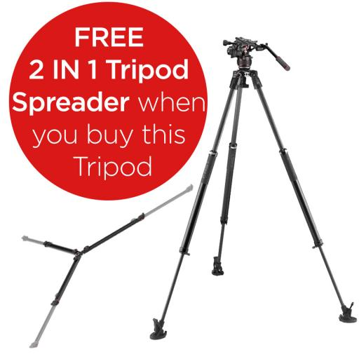 Manfrotto Nitrotech 608 series with 635 Fast Single Leg Carbon Tripod (With a FREE 2 in 1 Tripod Spreader)