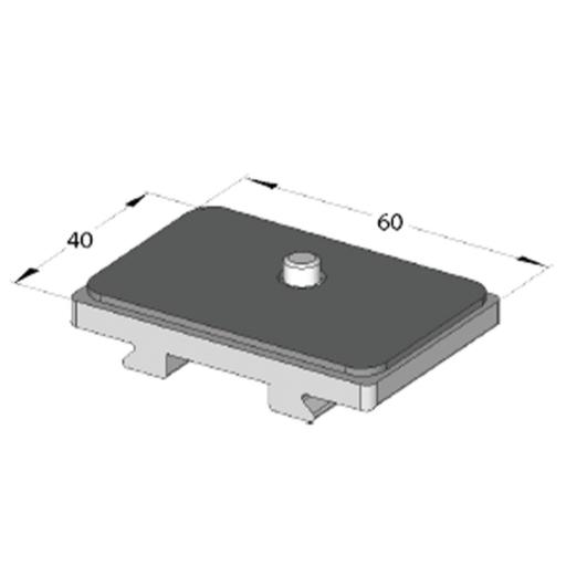 "Arca Swiss Universal 1/4 ""Quick Release Plate, 40 mm Long x 60 mm Wide, with Rubber Surface"