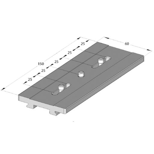 "Arca Swiss Long Classic quick-release plate with 2 1/4 ""fasteners, Length 150mm x Width 60mm; center distance 25-100mm"