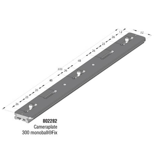 "Arca Swiss MonoballFix 300 plate with 4 fixing steps 1/4 "", Length 300mm x Width 32mm; center distance 20-270mm"