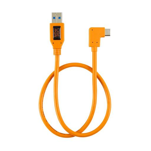 "Tether Tools TetherPro USB 3.0 to USB-C Right Angle Adapter ""Pigtail"" Cable, 20"" (50cm), High-Visibilty Orange"