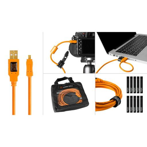 Tether Tools Starter Tethering Kit - TetherPro USB 2.0 to Mini-B 8-Pin, 15' (4.6m), Orange