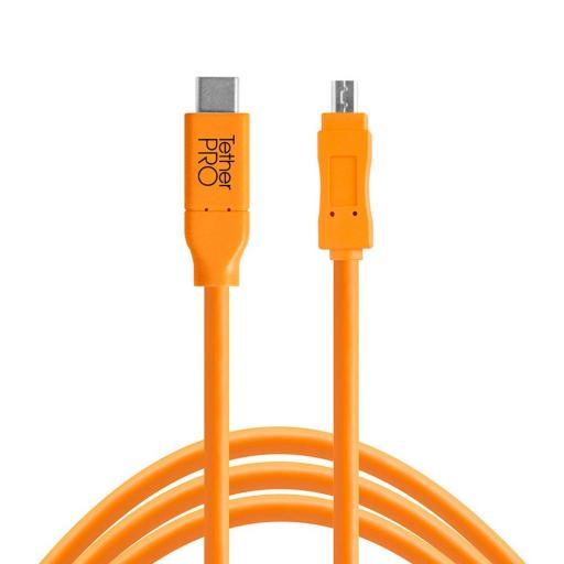 Tether Tools TetherPro USB-C to Mini-B 8-Pin Cable Black or Orange