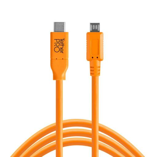 Tether Tools TetherPro USB-C to Micro-B 5-Pin Cable Black or Orange